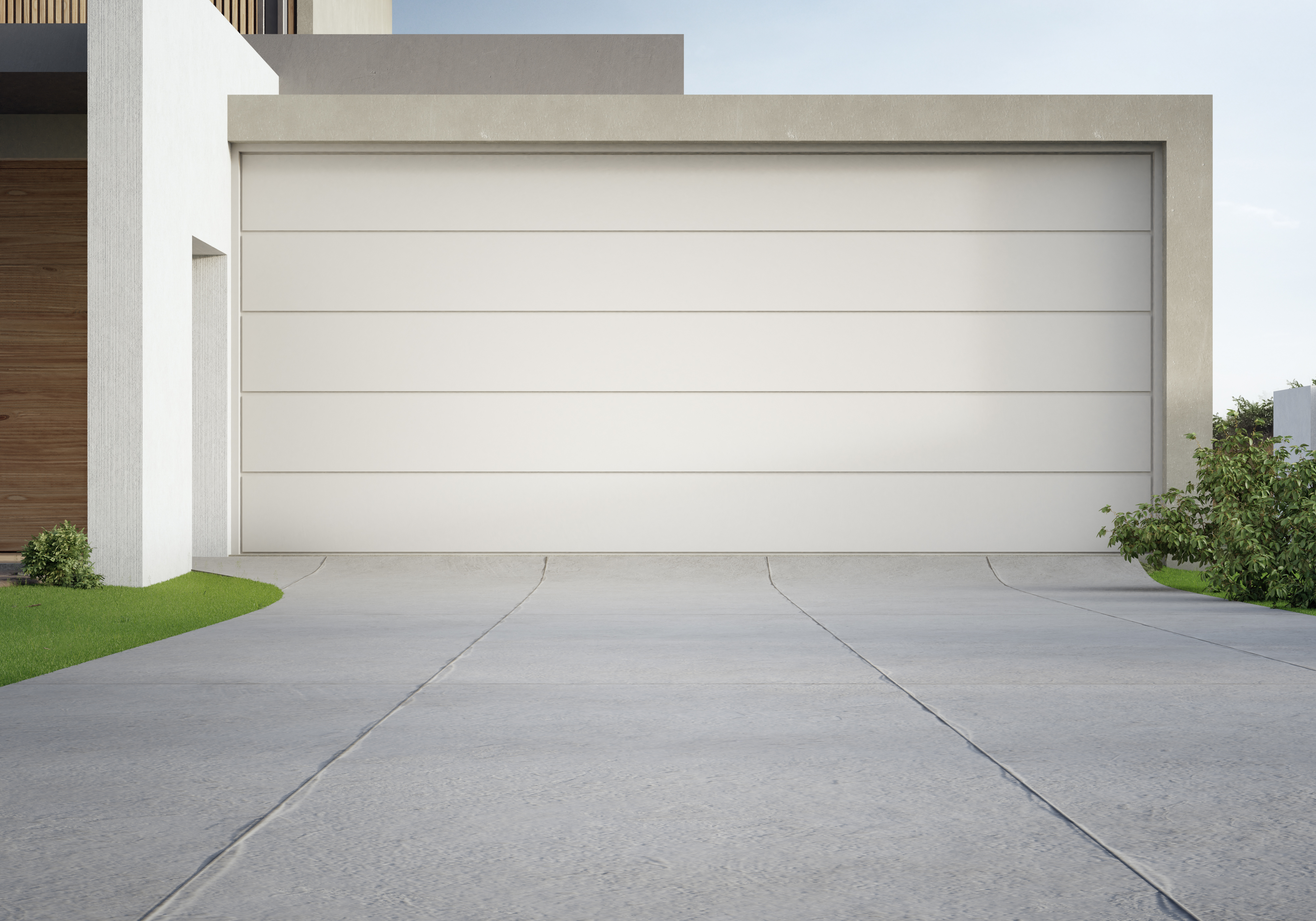 Modern house and big garage with concrete driveway. 3d illustration of residential building exterior.